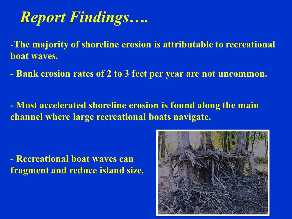 -The majority of shoreline erosion is attributable to recreational boat waves. - Bank erosion rates of 2 to 3 feet per year are not uncommon. Report F
