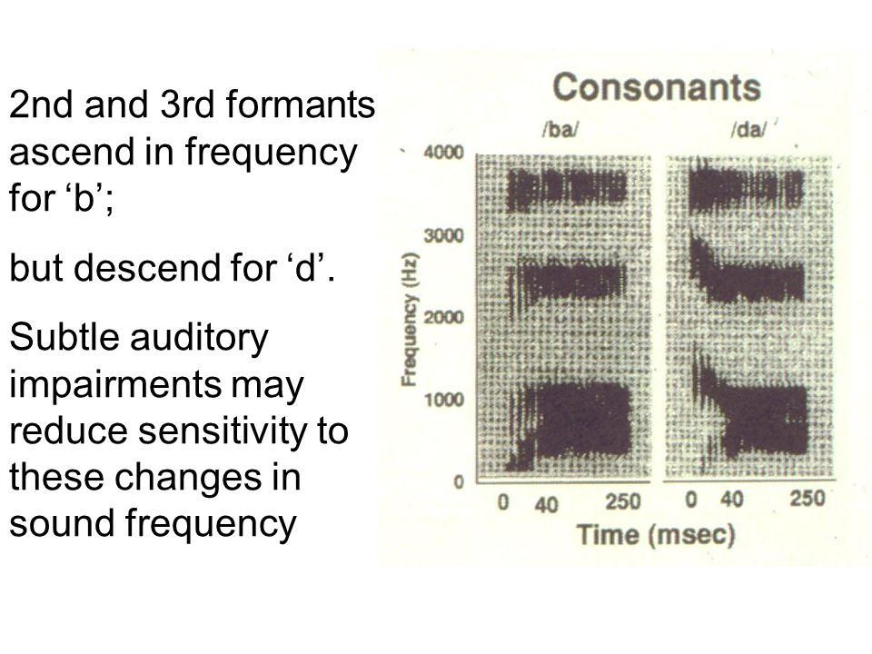 2nd and 3rd formants ascend in frequency for b; but descend for d. Subtle auditory impairments may reduce sensitivity to these changes in sound freque