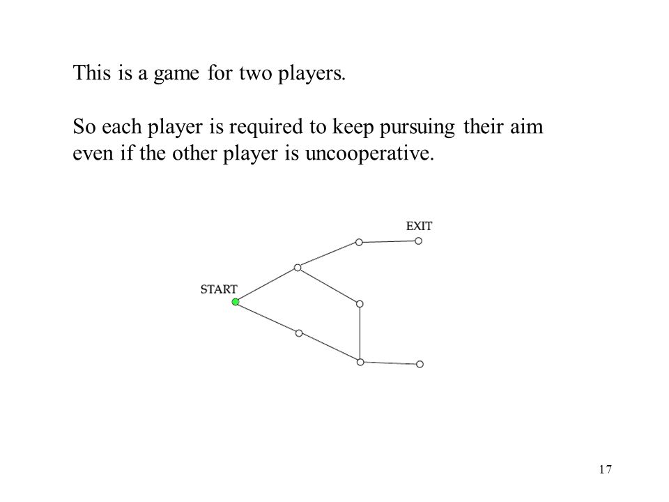 17 This is a game for two players. So each player is required to keep pursuing their aim even if the other player is uncooperative.