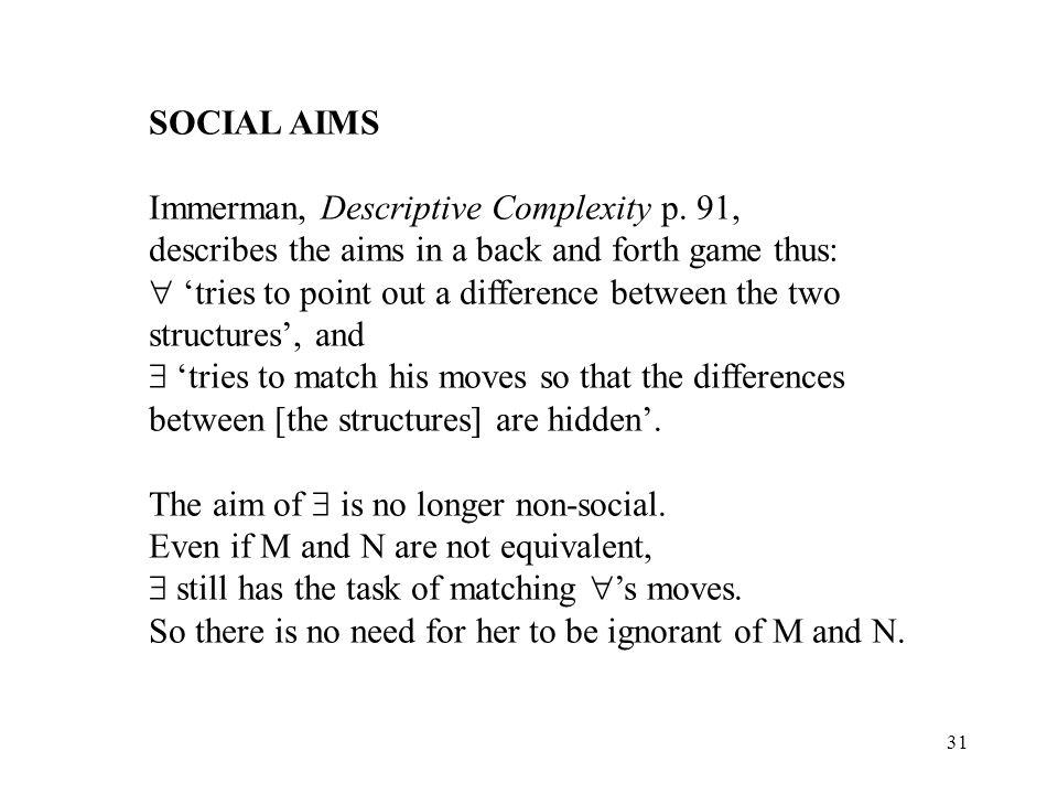 31 SOCIAL AIMS Immerman, Descriptive Complexity p.