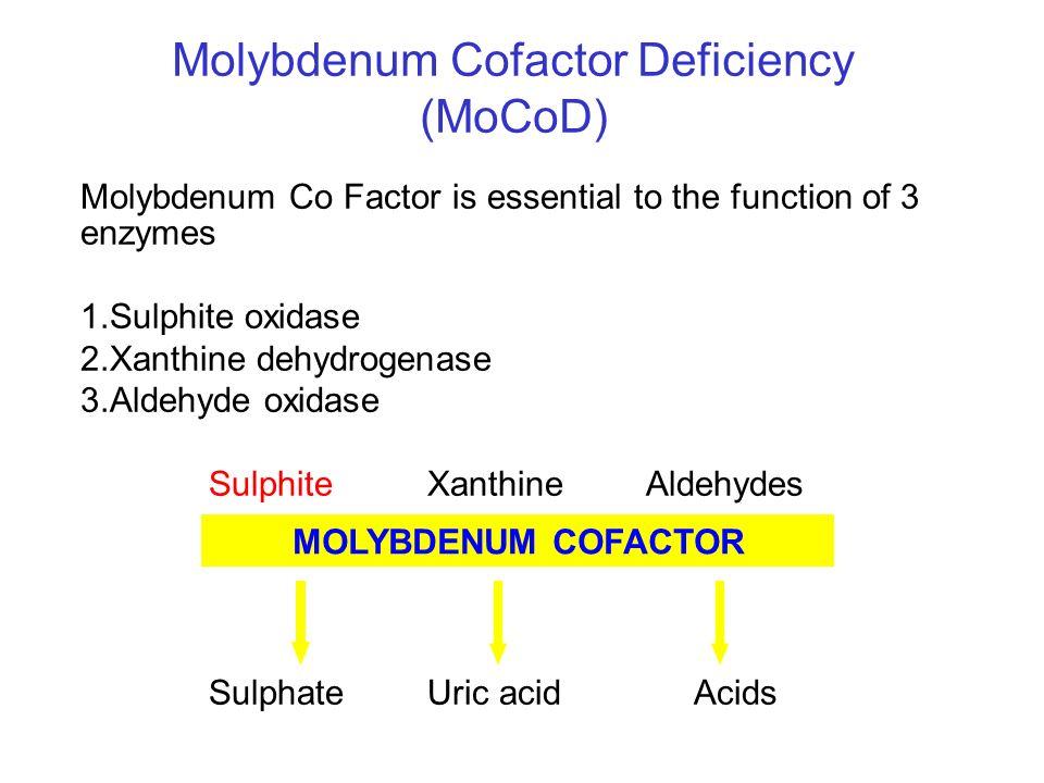 Molybdenum Cofactor Deficiency (MoCoD) Molybdenum Co Factor is essential to the function of 3 enzymes 1.Sulphite oxidase 2.Xanthine dehydrogenase 3.Al