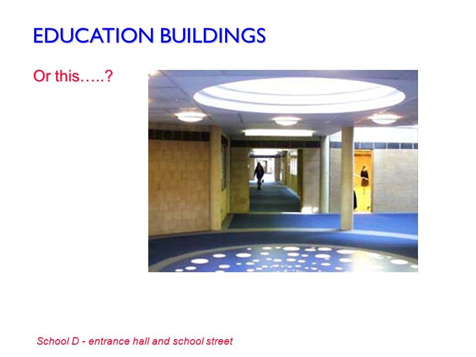EDUCATION BUILDINGS Into a lobby like this….. School A - school street