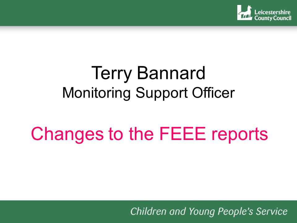 Terry Bannard Monitoring Support Officer Changes to the FEEE reports