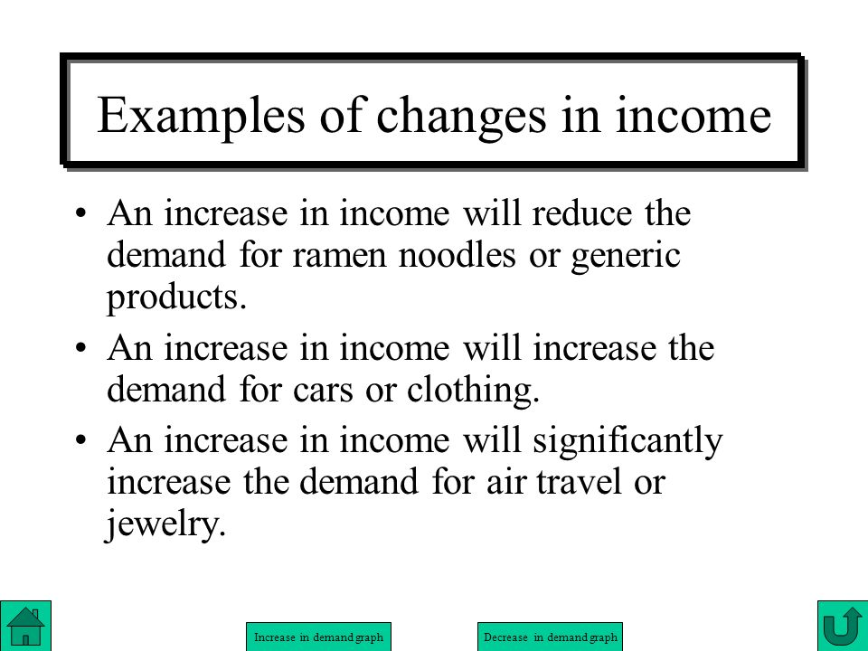 Increase in demand graphDecrease in demand graph Examples of changes in income An increase in income will reduce the demand for ramen noodles or gener