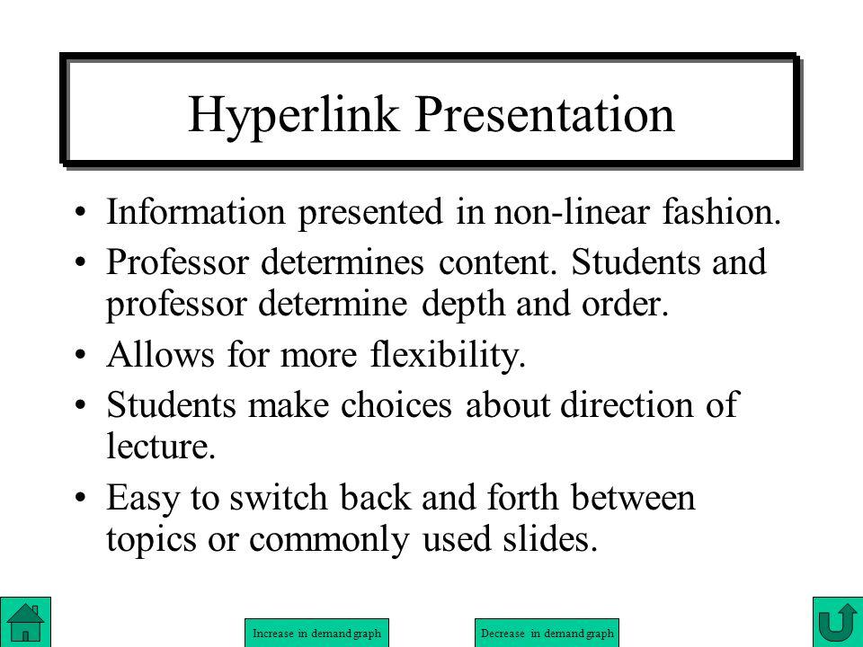 Increase in demand graphDecrease in demand graph Hyperlink Presentation Information presented in non-linear fashion. Professor determines content. Stu