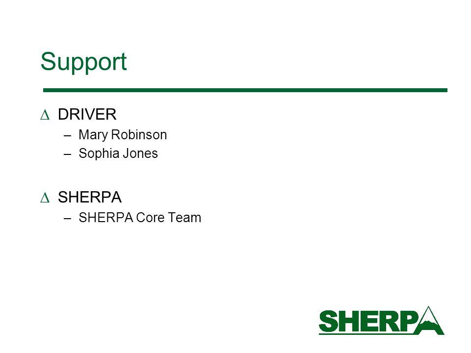 Support DRIVER –Mary Robinson –Sophia Jones SHERPA –SHERPA Core Team