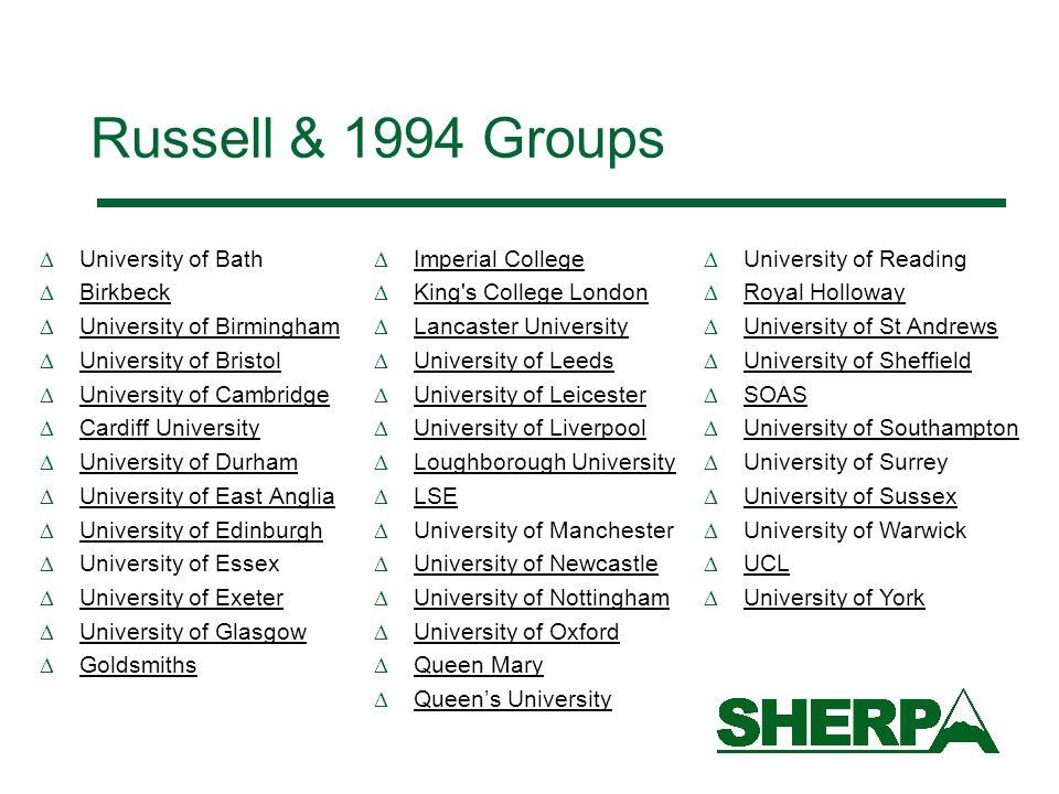 Russell & 1994 Groups University of Bath Birkbeck University of Birmingham University of Bristol University of Cambridge Cardiff University University