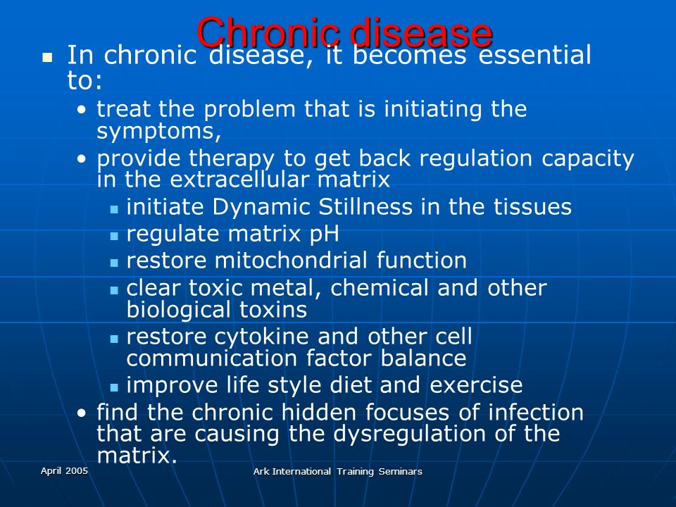 April 2005 Ark International Training Seminars Chronic disease In chronic disease, it becomes essential to: treat the problem that is initiating the s