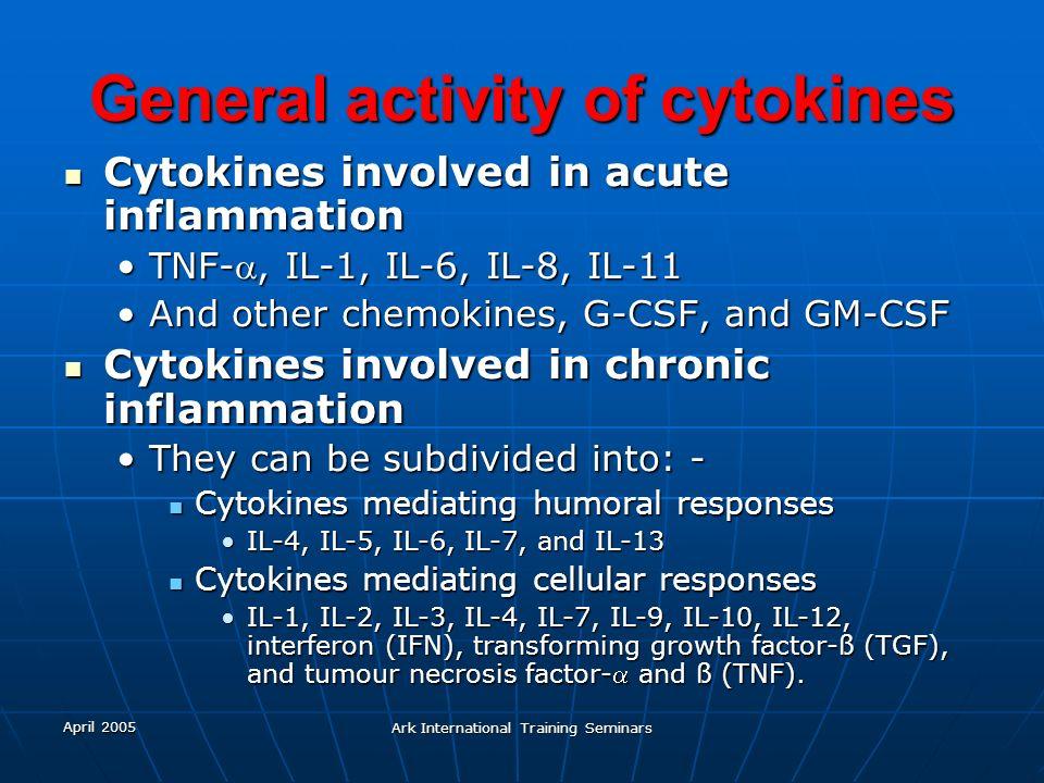 April 2005 Ark International Training Seminars General activity of cytokines Cytokines involved in acute inflammation Cytokines involved in acute infl