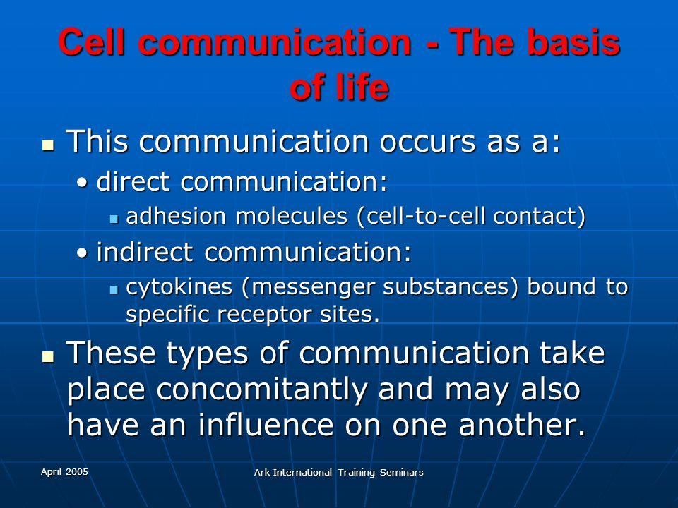 April 2005 Ark International Training Seminars Cell communication - The basis of life This communication occurs as a: This communication occurs as a: