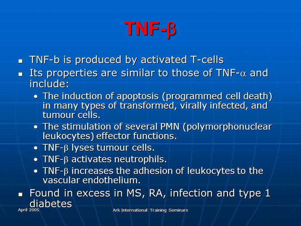 April 2005 Ark International Training Seminars TNF- TNF- TNF-b is produced by activated T-cells TNF-b is produced by activated T-cells Its properties