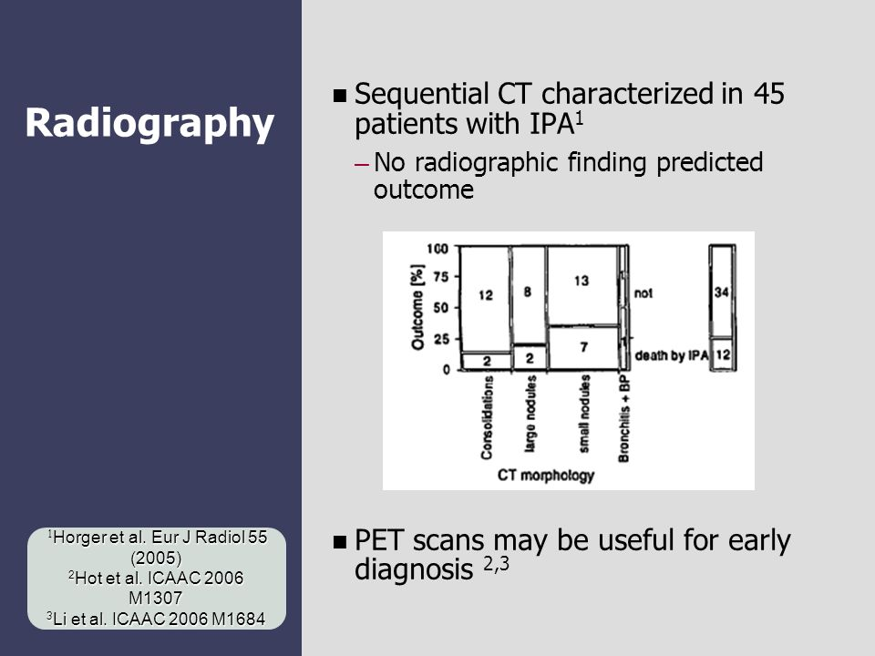 BAL for diagnosis n Nonspecific findings warrant evaluation for microbial etiology – Different therapies; frequent co-pathogens n Problem: – BAL culture is not sensitive l Sensitivity 50-65% of cases of documented IA n Ways to make facilitate diagnosis.