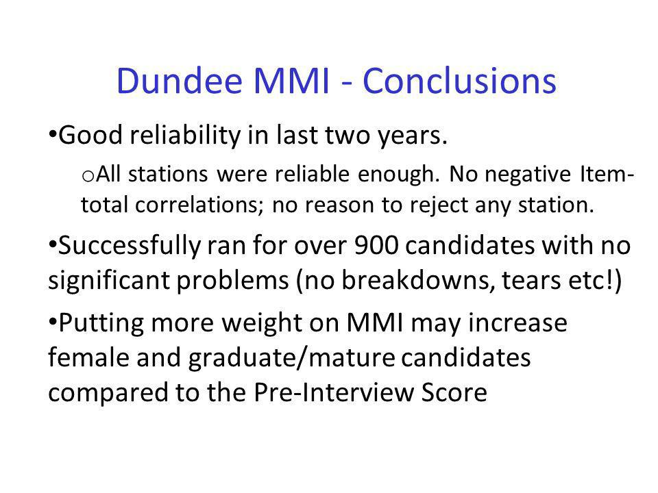 Dundee MMI - Conclusions Good reliability in last two years. o All stations were reliable enough. No negative Item- total correlations; no reason to r