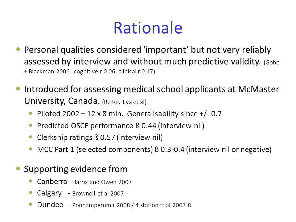 Rationale Personal qualities considered important but not very reliably assessed by interview and without much predictive validity. (Goho + Blackman 2