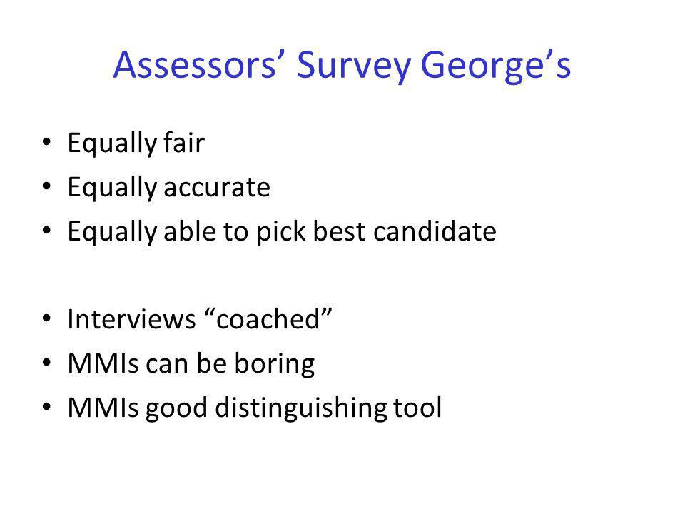 Assessors Survey Georges Equally fair Equally accurate Equally able to pick best candidate Interviews coached MMIs can be boring MMIs good distinguish