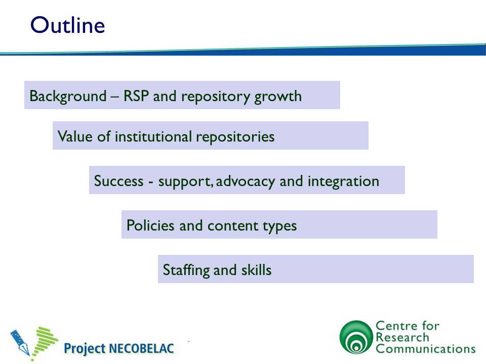 Further information on staffing RSP Repository staff and skills set http://www.rsp.ac.uk/documents/Repository_Staff_and_Skills_Set_2011.pdf UK Repositories including staffing levels: RSP wiki http://www.rsp.ac.uk/pmwiki/index.php?n=Institutions.HomePage JISC Recruitment toolkit http://www.jisc.ac.uk/whatwedo/themes/informationenvironment/recruitment.