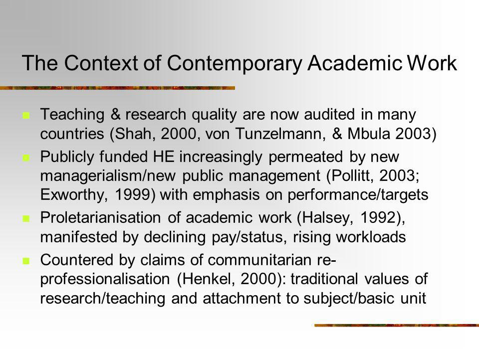 The Context of Contemporary Academic Work Teaching & research quality are now audited in many countries (Shah, 2000, von Tunzelmann, & Mbula 2003) Pub