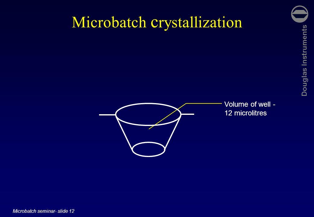 Douglas Instruments Microbatch seminar- slide 12 Microbatch c rystallization Volume of well - 12 microlitres