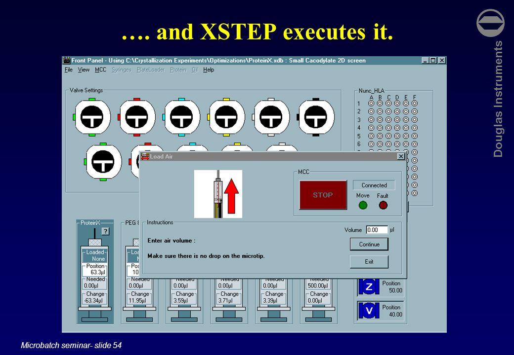 Douglas Instruments Microbatch seminar- slide 54 …. and XSTEP executes it.