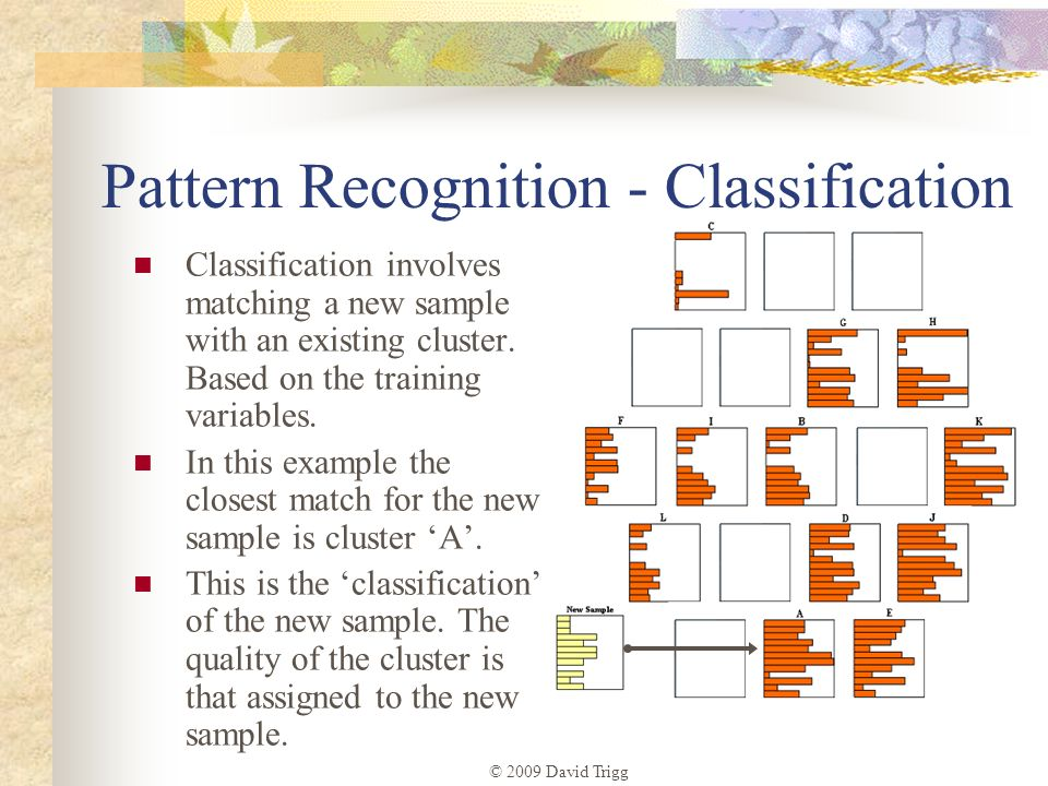 © 2009 David Trigg Pattern Recognition - Classification Classification involves matching a new sample with an existing cluster. Based on the training