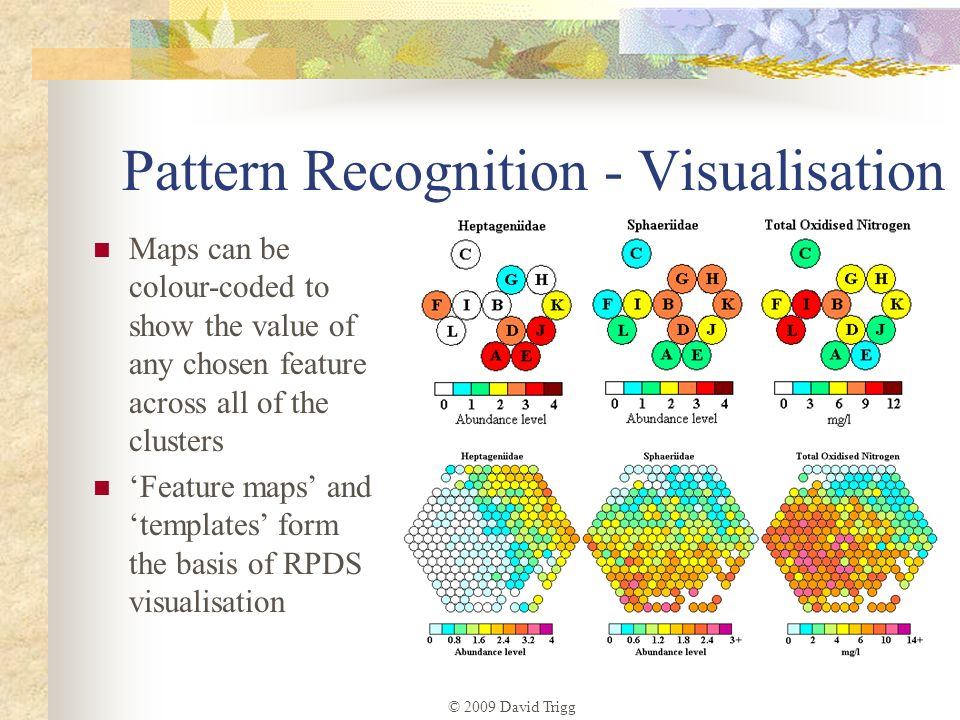 © 2009 David Trigg Pattern Recognition - Visualisation Maps can be colour-coded to show the value of any chosen feature across all of the clusters Fea
