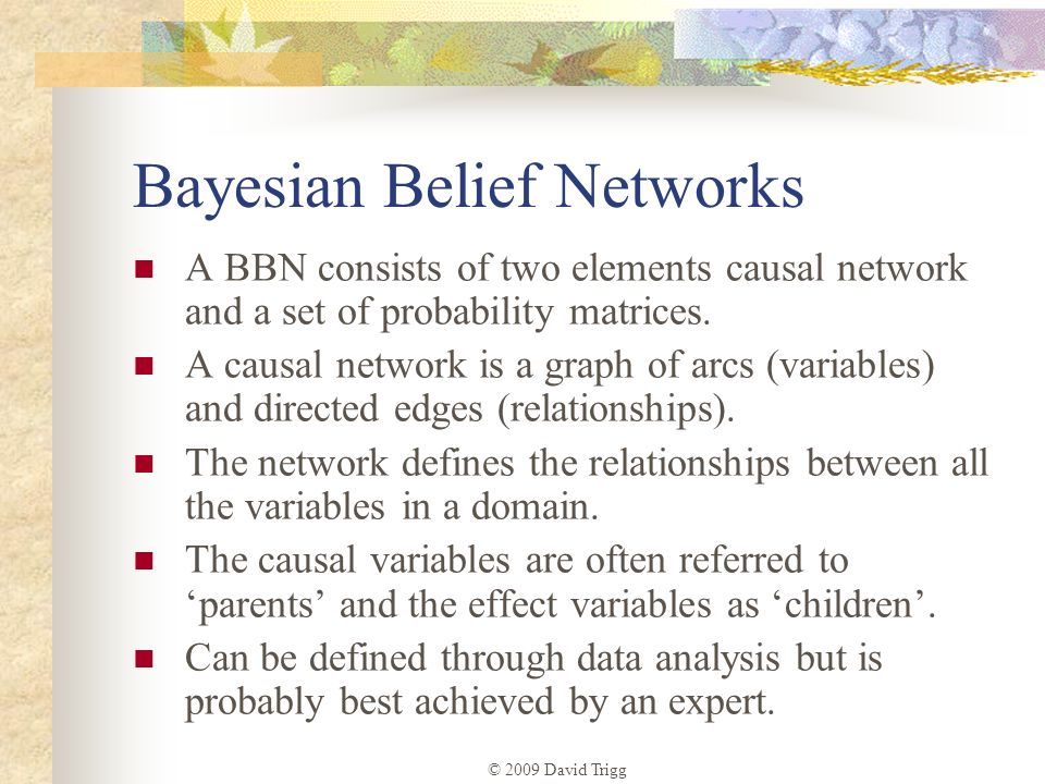 © 2009 David Trigg Bayesian Belief Networks A BBN consists of two elements causal network and a set of probability matrices. A causal network is a gra