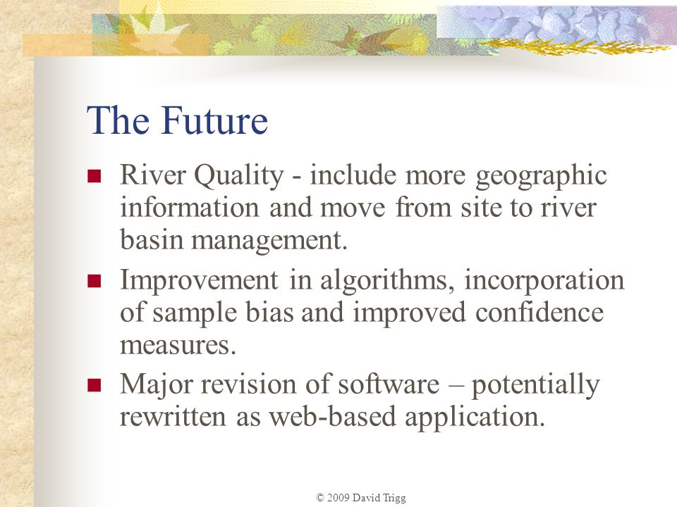 © 2009 David Trigg The Future River Quality - include more geographic information and move from site to river basin management. Improvement in algorit