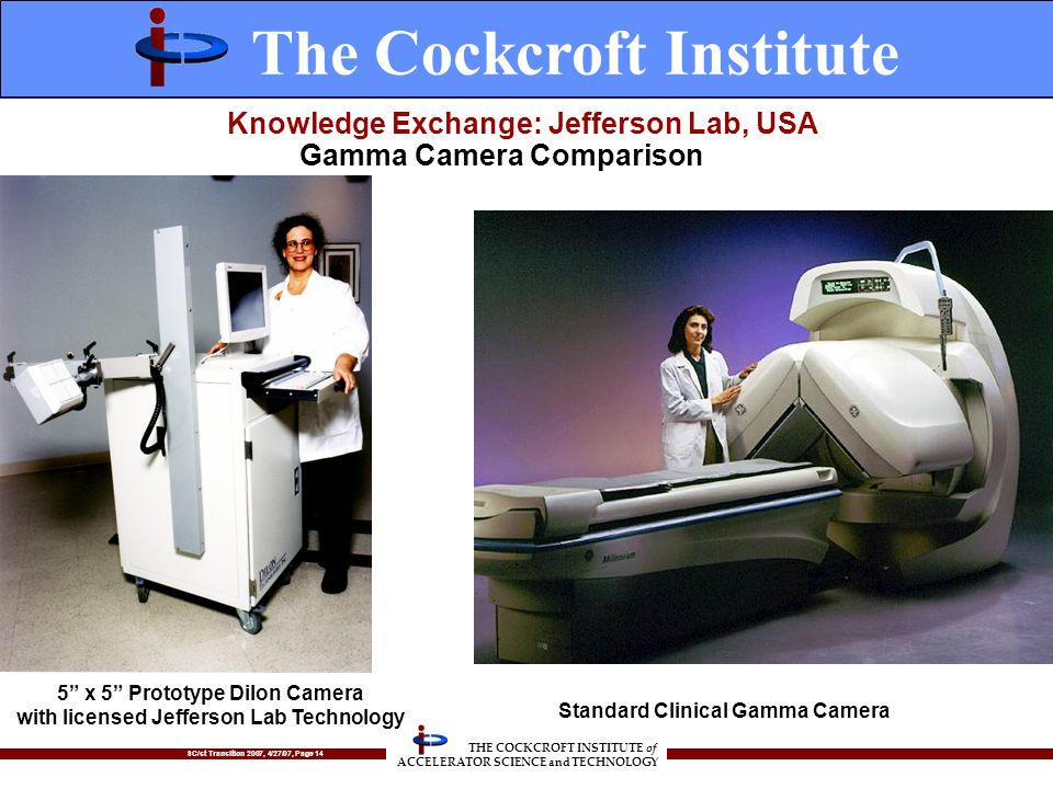 SC/st Transition 2007, 4/27/07, Page 14 THE COCKCROFT INSTITUTE of ACCELERATOR SCIENCE and TECHNOLOGY Knowledge Exchange: Jefferson Lab, USA 5 x 5 Prototype Dilon Camera with licensed Jefferson Lab Technology Standard Clinical Gamma Camera Gamma Camera Comparison The Cockcroft Institute