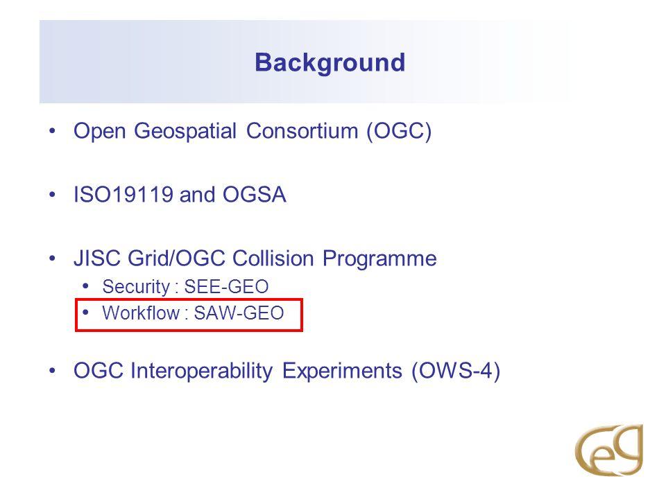 Background Open Geospatial Consortium (OGC) ISO19119 and OGSA JISC Grid/OGC Collision Programme Security : SEE-GEO Workflow : SAW-GEO OGC Interoperabi