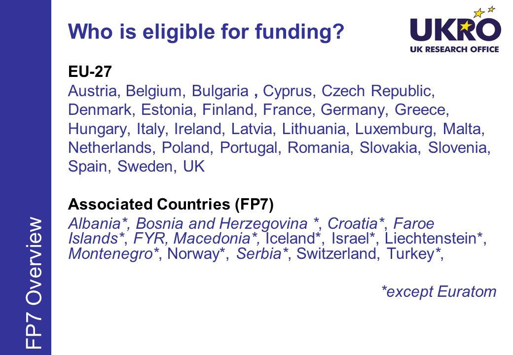 Who is eligible for funding? EU-27 Austria, Belgium, Bulgaria, Cyprus, Czech Republic, Denmark, Estonia, Finland, France, Germany, Greece, Hungary, It