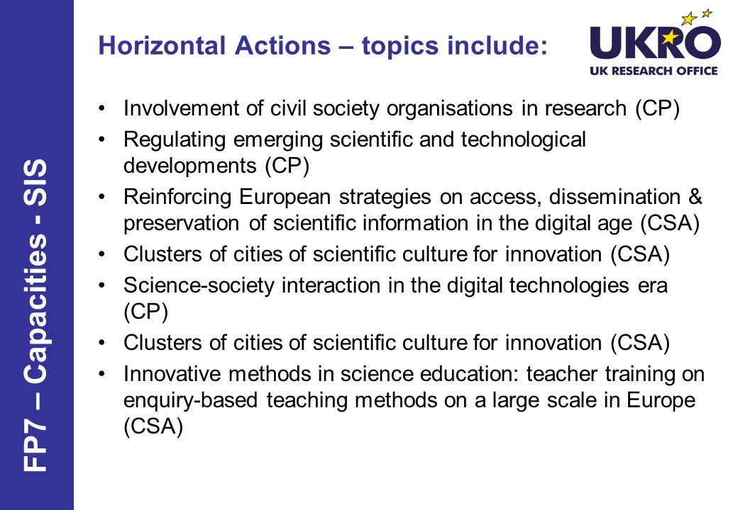 Horizontal Actions – topics include: Involvement of civil society organisations in research (CP) Regulating emerging scientific and technological deve