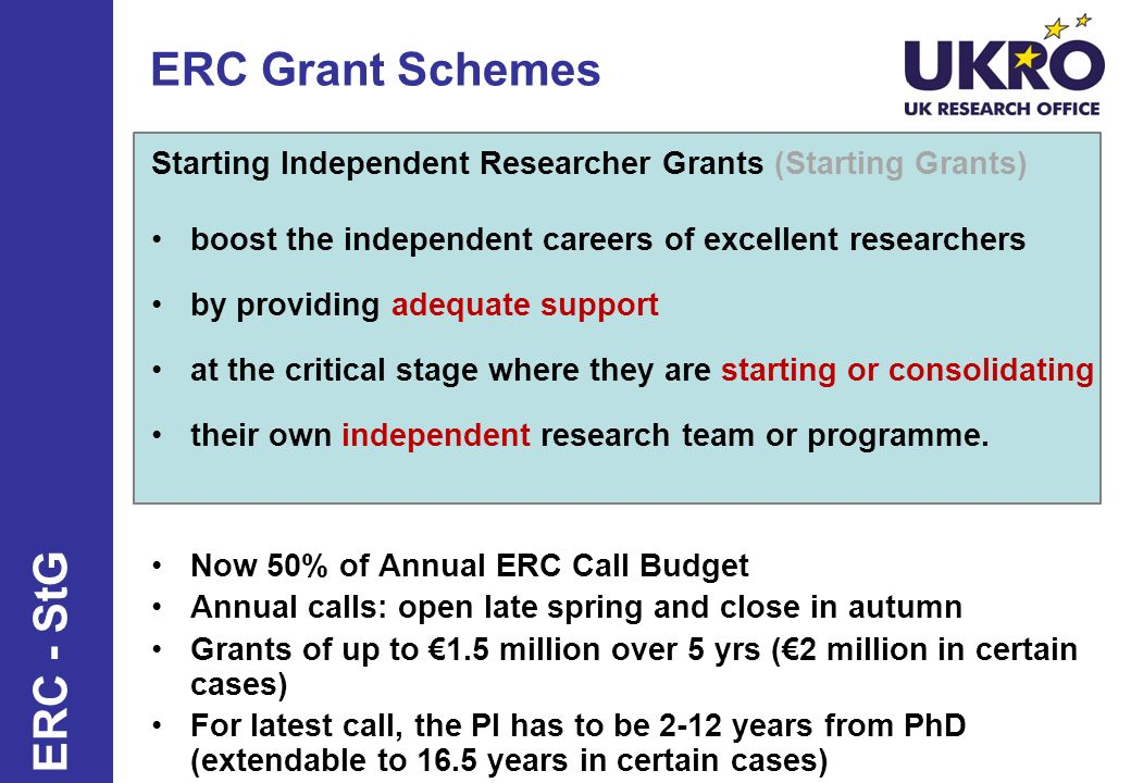 ERC Grant Schemes Starting Independent Researcher Grants (Starting Grants) boost the independent careers of excellent researchers by providing adequat