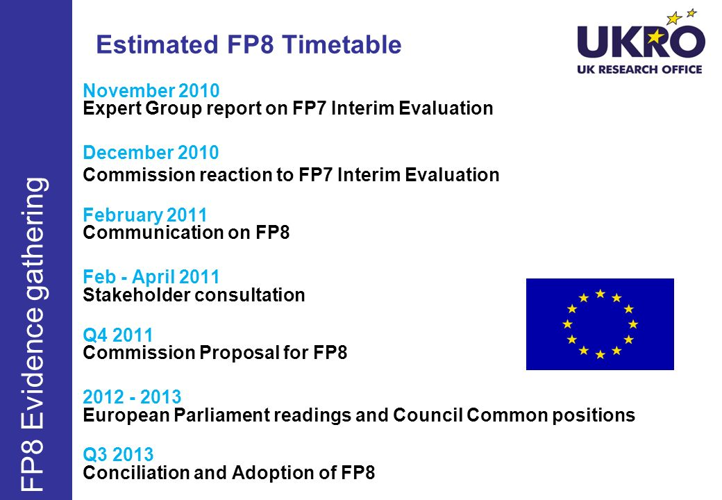 Estimated FP8 Timetable FP8 Evidence gathering June Sept Dec November 2010 Expert Group report on FP7 Interim Evaluation December 2010 Commission reac