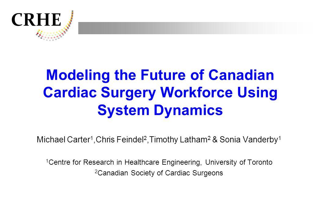 CRHE Modeling the Future of Canadian Cardiac Surgery Workforce Using System Dynamics Michael Carter 1,Chris Feindel 2,Timothy Latham 2 & Sonia Vanderb