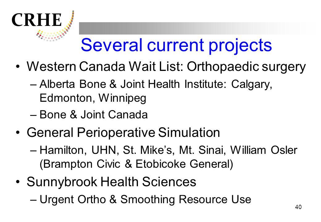 CRHE Several current projects Western Canada Wait List: Orthopaedic surgery –Alberta Bone & Joint Health Institute: Calgary, Edmonton, Winnipeg –Bone