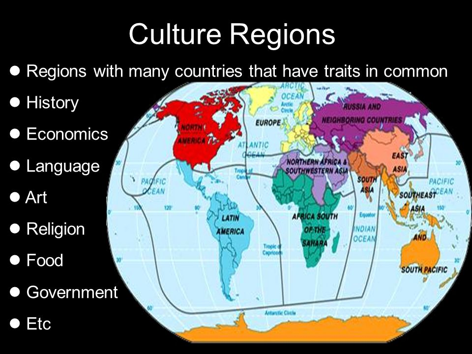 Culture Regions Regions with many countries that have traits in common History Economics Language Art Religion Food Government Etc