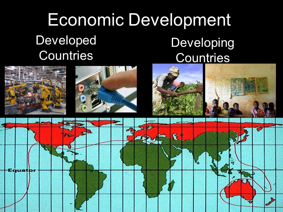 Economic Development Developed Countries Developing Countries Manufacturing & Industrial Base Large Scale Agriculture Educated Population Source of Re