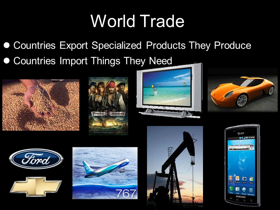 World Trade Countries Export Specialized Products They Produce Countries Import Things They Need
