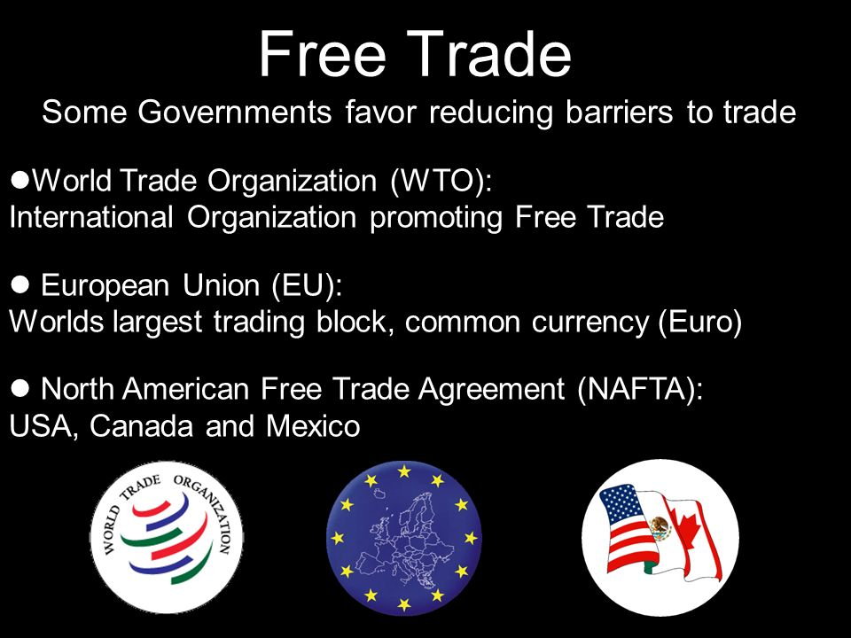 Free Trade Some Governments favor reducing barriers to trade World Trade Organization (WTO): International Organization promoting Free Trade European