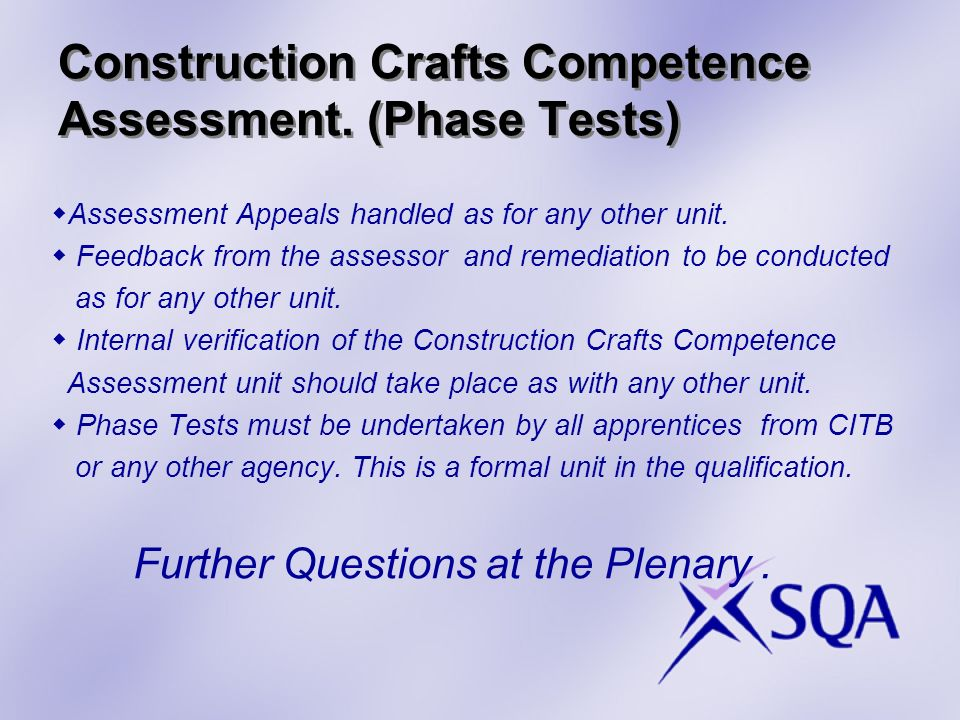 Construction Crafts Competence Assessment.