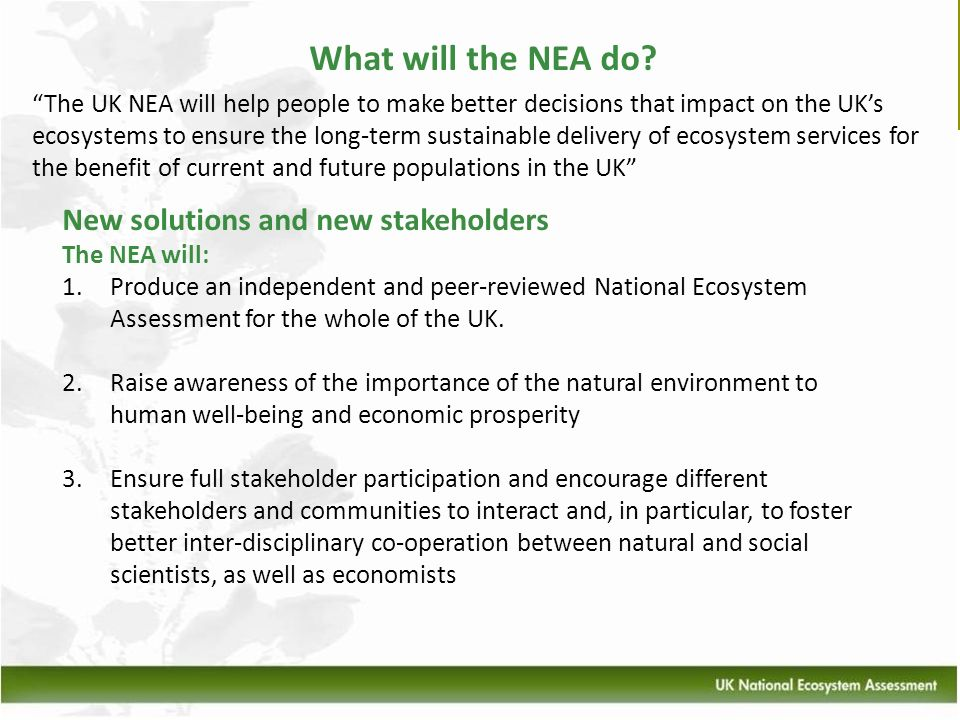 What will the NEA do? New solutions and new stakeholders The NEA will: 1.Produce an independent and peer-reviewed National Ecosystem Assessment for th