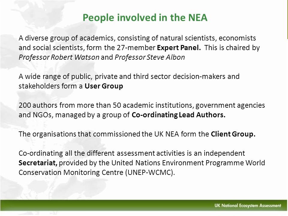 People involved in the NEA A diverse group of academics, consisting of natural scientists, economists and social scientists, form the 27-member Expert
