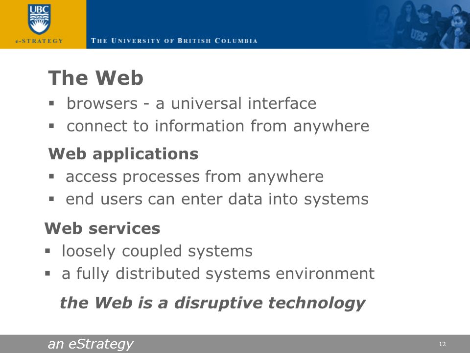 an eStrategy 12 Web applications access processes from anywhere end users can enter data into systems Web services loosely coupled systems a fully dis