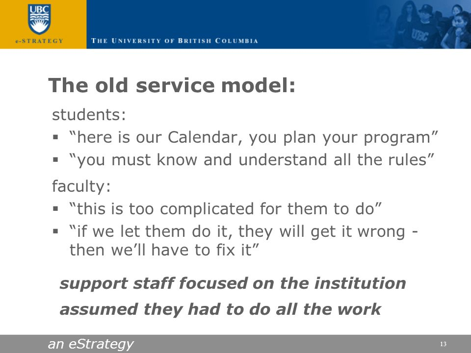 an eStrategy 13 The old service model: students: here is our Calendar, you plan your program you must know and understand all the rules faculty: this