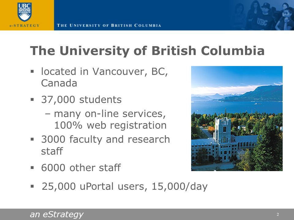 an eStrategy 2 The University of British Columbia located in Vancouver, BC, Canada 37,000 students –many on-line services, 100% web registration 3000