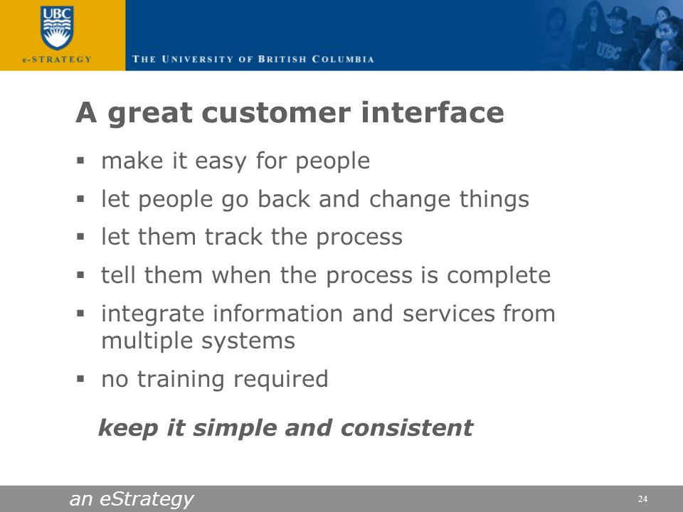 an eStrategy 24 A great customer interface make it easy for people let people go back and change things let them track the process tell them when the