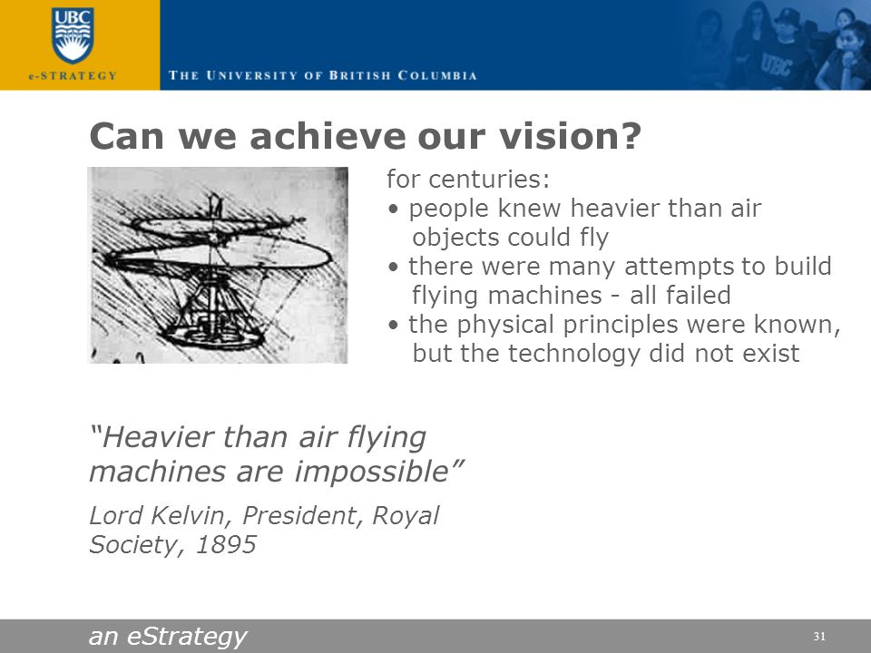 an eStrategy 31 Heavier than air flying machines are impossible Lord Kelvin, President, Royal Society, 1895 Can we achieve our vision? for centuries: