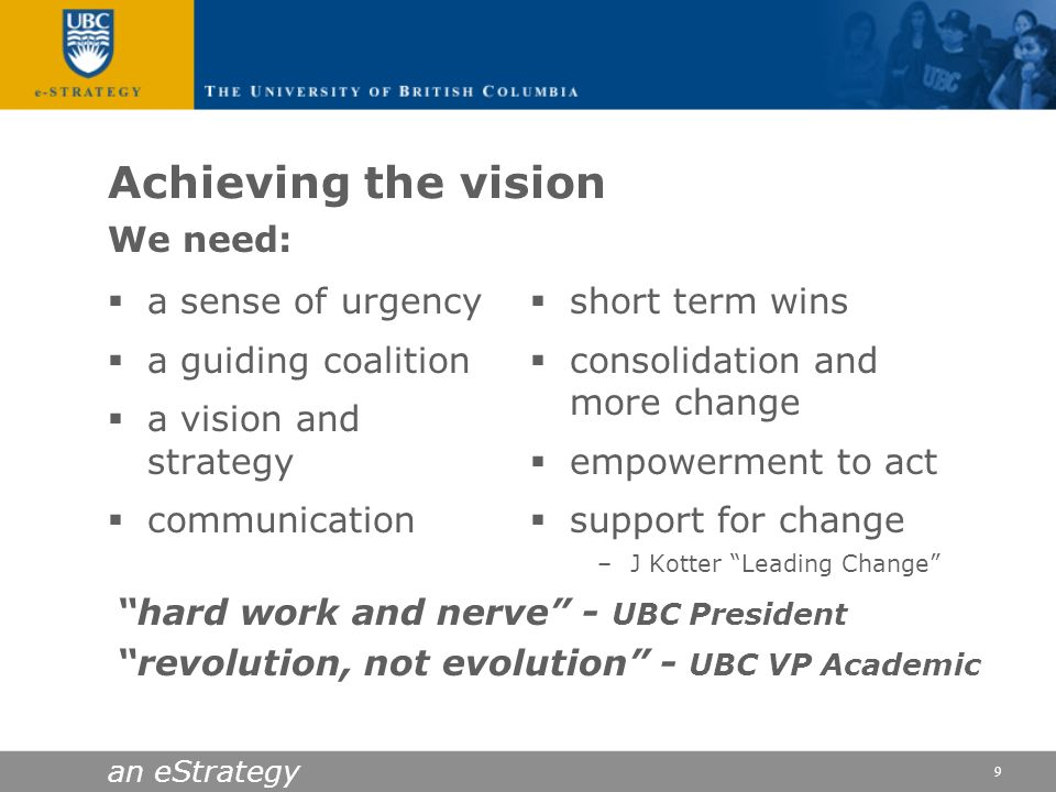 an eStrategy 9 Achieving the vision a sense of urgency a guiding coalition a vision and strategy communication short term wins consolidation and more