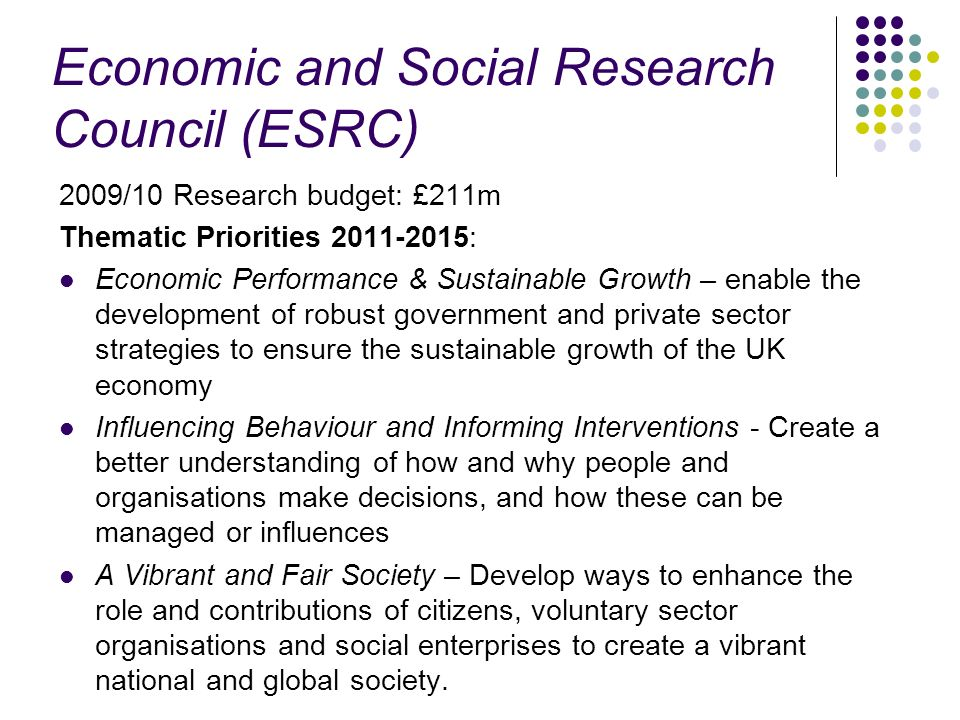 Economic and Social Research Council (ESRC) 2009/10 Research budget: £211m Thematic Priorities 2011-2015: Economic Performance & Sustainable Growth –