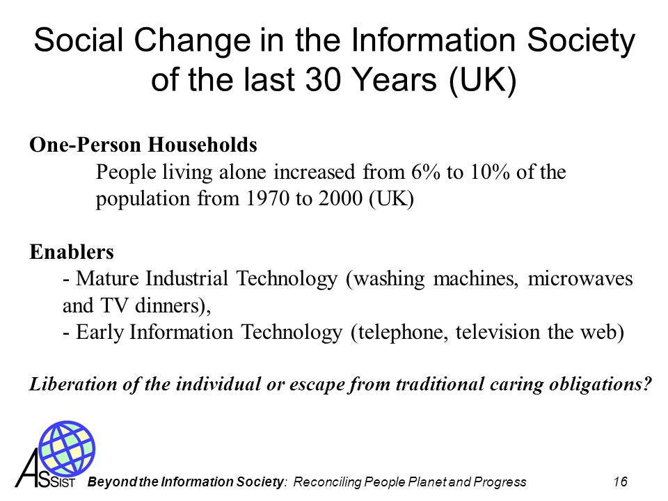 Beyond the Information Society: Reconciling People Planet and Progress 16 Social Change in the Information Society of the last 30 Years (UK) One-Perso